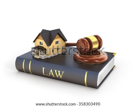 Concept of suing for property. 3d illustration of wooden gavel with house on the book of law. - stock photo