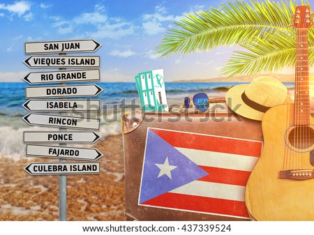 Concept of summer traveling with old suitcase and Puerto Rico to