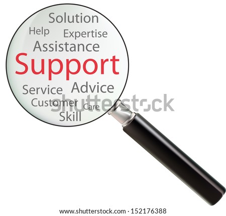 Concept of support consists of skill, expertise, advice, solution, help, customer, care, service and assistance