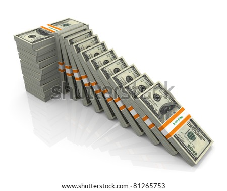 Concept of supporting falling dollars. 3d render of dollar packs - stock photo