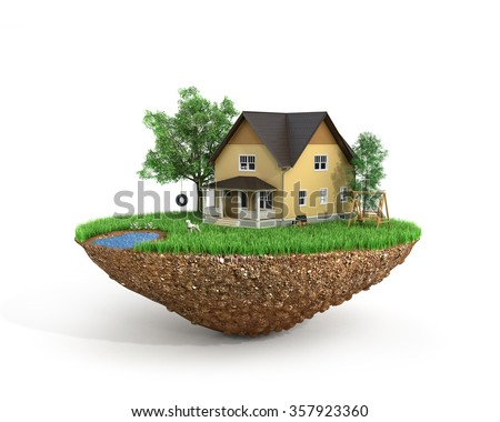 Concept of sweet home. House with on the grass with trees on the island is flying. - stock photo