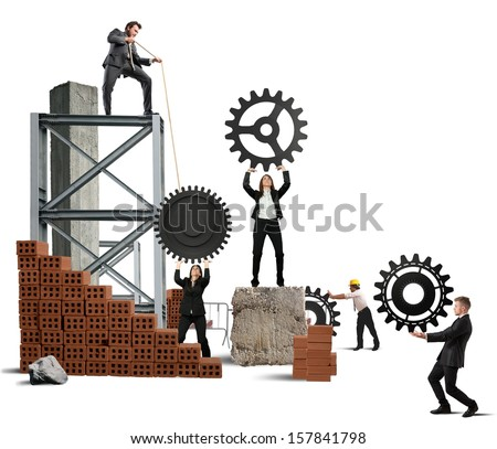 Concept of team at work with gear - stock photo