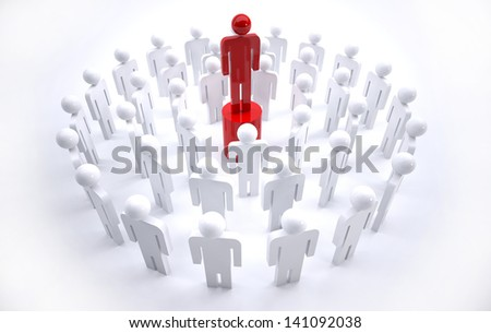 Concept of team leader - stock photo