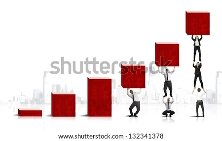 Concept of teamwork and corporate profit - stock photo