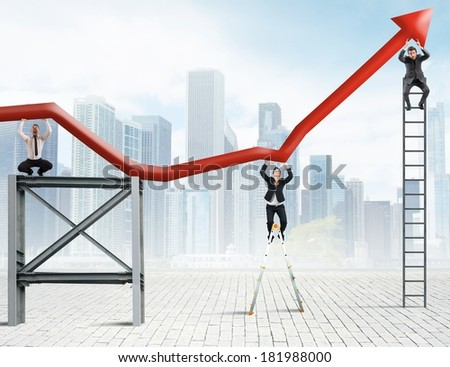 Concept of Teamwork and corporate profit with growing statistics - stock photo