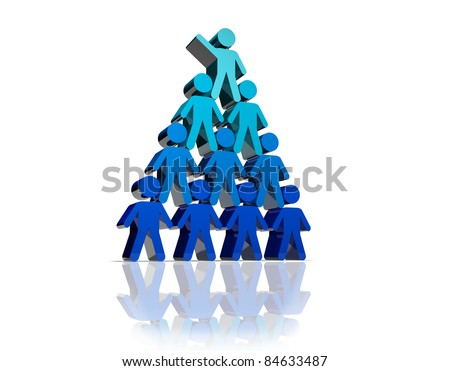 Concept of teamwork and partnership in blue color - stock photo