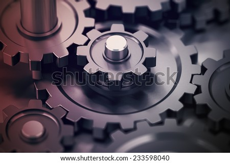 Concept of teamwork, gears working together, mechanical symbol.  - stock photo