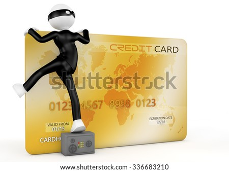concept of technological uncertainty and credit card protection - stock photo
