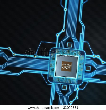 Concept of technology background. Central Processing Unit. (microchip) High resolution 3d render