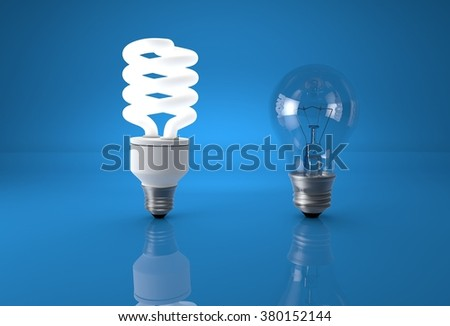 Concept of technology evolution. Eco energy saving bulb comparing to old incandescent bulb. - stock photo