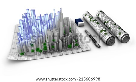 Concept of the architectural work about city creation. Schematics, map, from conception to realization. The city emerges from the map. - stock photo
