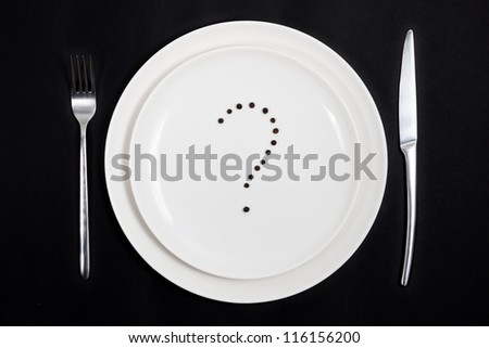 Concept of the difficulty of planning a daily menu. - stock photo