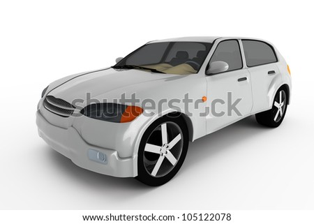 concept of the grey metallic crossover car isolated on a white background.