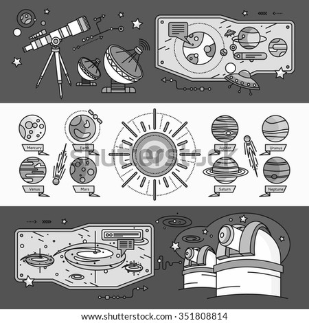Concept of the scientific cosmos flat style. Space and uranus, venus and meteorite, jupiter and neptune, mercury and mars, planetarium and saturn, shuttle and spacecraft. White black. Raster version - stock photo