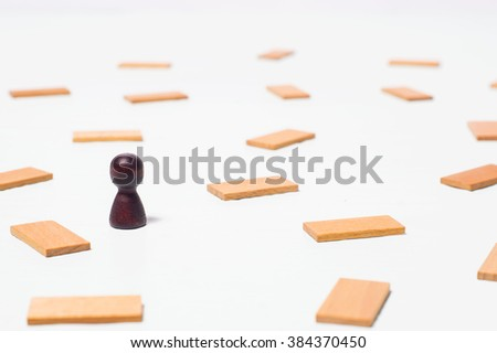 Concept of thinking, the search for solutions, the mind games. Wooden figure, abstraction. - stock photo
