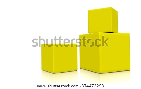 Concept of three 3d yellow boxes isolated on white background. Rendered illustration.  - stock photo
