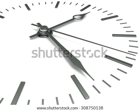 Concept of time. Clock face with arrows, close-up on a white background.
