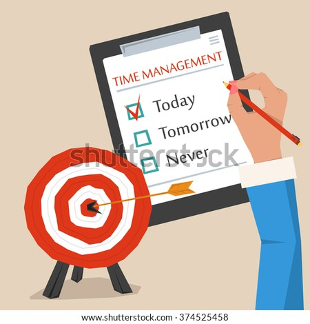 Concept of time management. Target goal with arrow in the center, hand making sign on to do list. Flat style. Web infographics - stock photo
