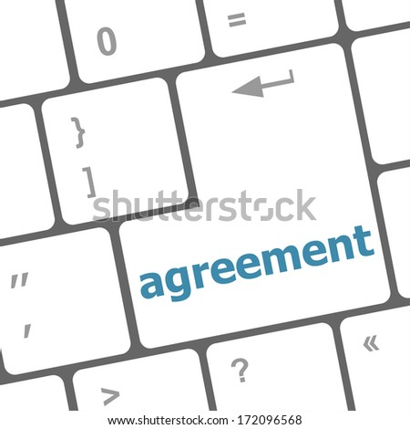 concept of to agreement something, with message on enter key of keyboard