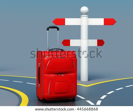 Concept of travel choice. Suitcase near pointer. 3d render image - stock photo