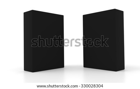 Concept of two 3d black boxes isolated on white background. Rendered illustration.