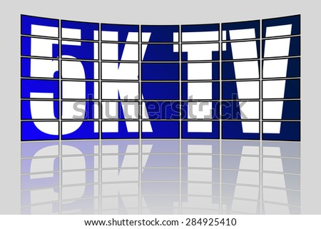 Concept of Ultra High Definition TV videowall with reflection - stock photo