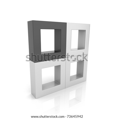 Concept of unique element with frames (black collection) - stock photo
