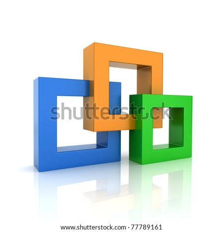 Concept of unity with 3 frames (color collection) - stock photo