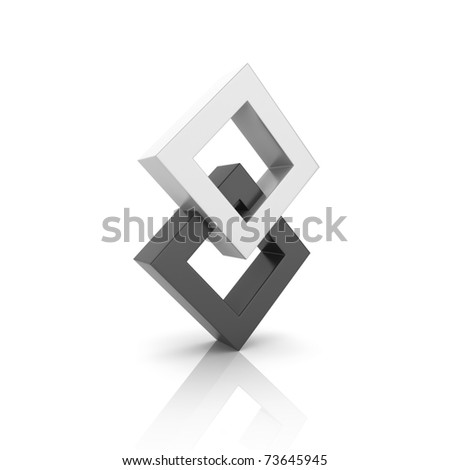 Concept of unity with two rhombs (black collection) - stock photo