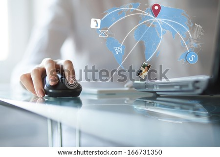 Concept of using wireless technology, online buying, receive and download photo and email, video call - stock photo