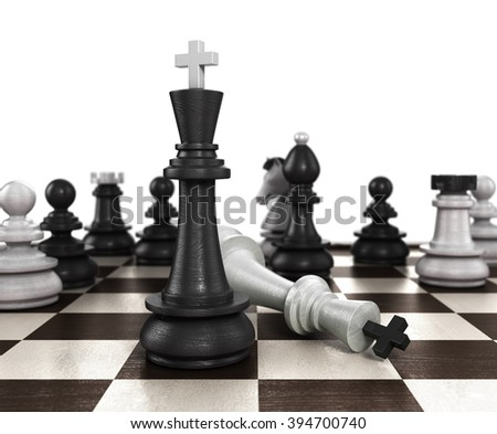 concept of victory is not an honest way the resulting mat set the player to play white chess - stock photo
