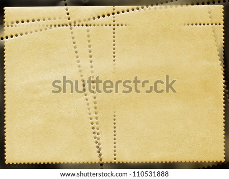 Concept of vintage blank reverse side of postage stamps block of two in golden tones - stock photo