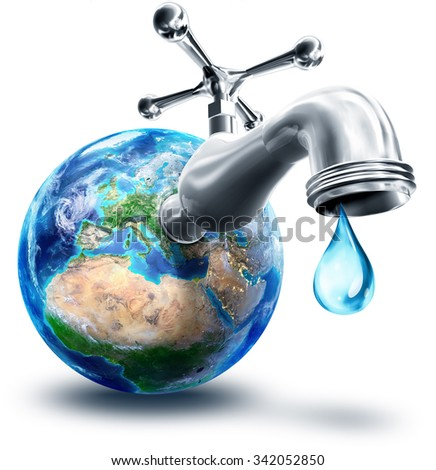 concept of water conservation in Europe and Africa - elements of this image furnished by NASA  - stock photo