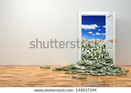 Concept of wealth. Opening door and heap dollar. 3d - stock photo