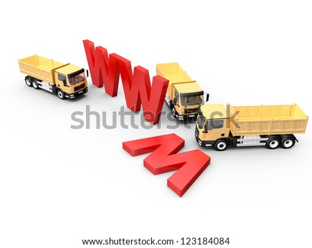 Concept of website under construction with red www letters and yellow trucks, isolated on white background. - stock photo