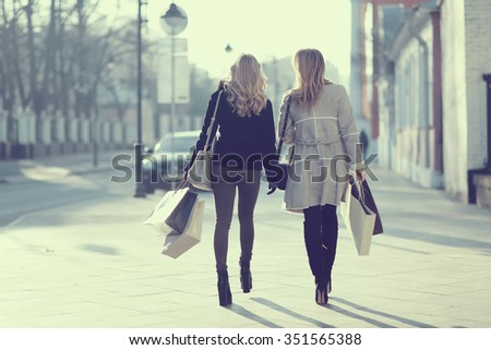 concept of women shopping, shopaholic, walk - stock photo