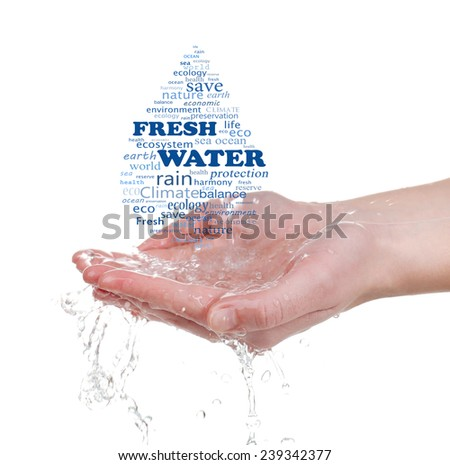 Concept of world's fresh water reserve, words in drop shape in hands isolated on white