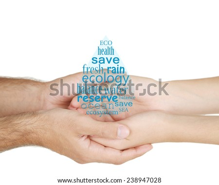 Concept of world's water reserve, words in drop shape in hands isolated on white - stock photo