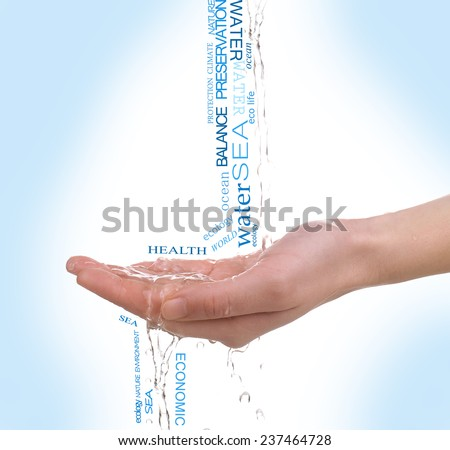 Concept of world's water reserve, words in hand on blue background - stock photo