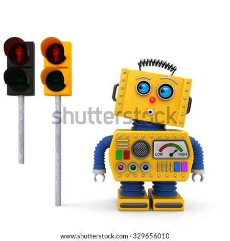 Concept of yellow vintage toy robot stopping at a red pedestrian traffic light. Alternative European traffic light version added for easy replacement. - stock photo