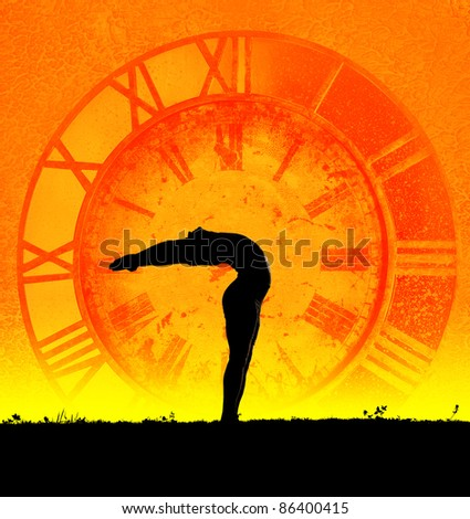 Concept of yoga and time. Hasta Uttanasana pose from surya namaskar by Man in silhouette at clock background. Man is hands of clock representing ageless because of practice yoga - stock photo