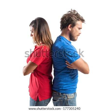 Concept of young couple with relationship problems - stock photo