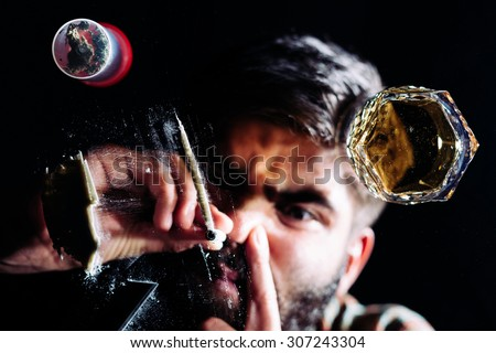 Concept of young people using and abusing drugs - stock photo