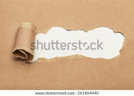 Concept. Open Your Mind appearing behind torn brown paper. - stock photo