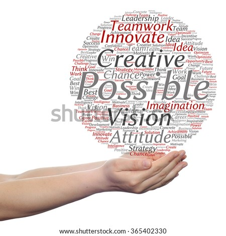 Concept or conceptual abstract creative business word cloud in hand on white background, metaphor to teamwork, innovation, possible, creativity, leadership, management, successful, corporate, strategy - stock photo