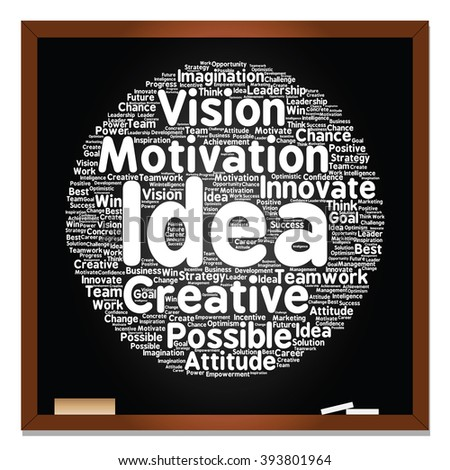 Concept or conceptual abstract creative business word cloud on black blackboard, metaphor to teamwork, innovation, possible, creativity, leadership, management, successful, corporate, strategy - stock photo