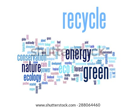 Concept or conceptual abstract green ecology and conservation word cloud text on white background, metaphor to environment, recycle, earth, alternative, protection, energy, eco friendly or bio - stock photo