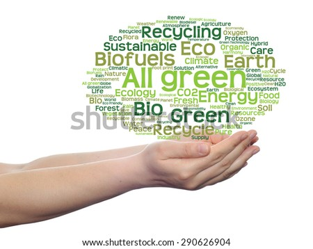 Concept or conceptual abstract green ecology, conservation word cloud text in man hand on white background for environment, recycle, earth, clean, alternative, protection, energy, eco friendly or bio - stock photo