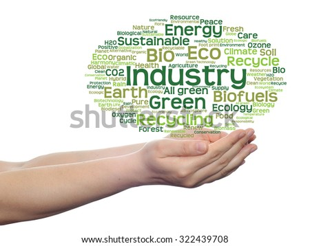 Concept or conceptual abstract green ecology, conservation word cloud text man hand, white background for environment, recycle, earth, clean, alternative, protection, energy, eco friendly or bio - stock photo