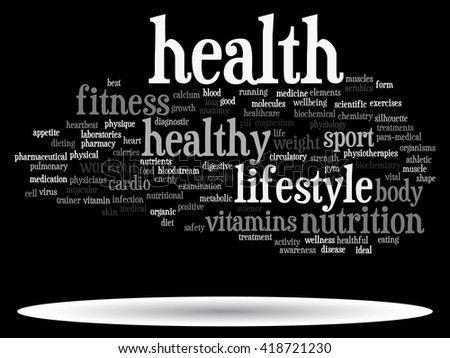 Concept or conceptual abstract health diet or sport word cloud or wordcloud isolated on background - stock photo